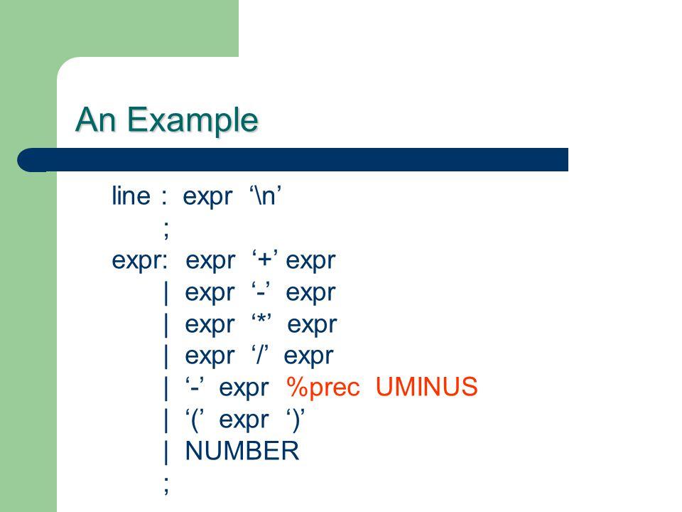 An Example line : expr '\n' ; expr: expr '+' expr | expr '-' expr | expr '*' expr | expr '/' expr | '-' expr %prec UMINUS | '(' expr ')' | NUMBER ;