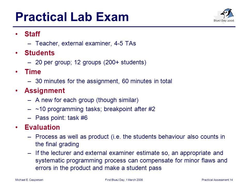 Michael E. CaspersenFirst BlueJ Day, 1 March 2006Practical Assessment.14 Practical Lab Exam Staff –Teacher, external examiner, 4-5 TAs Students –20 pe