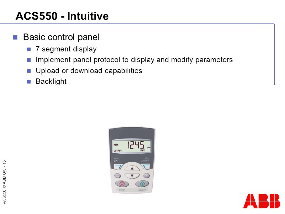 ACS550 © ABB Oy. - 15 ACS550 - Intuitive Basic control panel 7 segment display Implement panel protocol to display and modify parameters Upload or dow