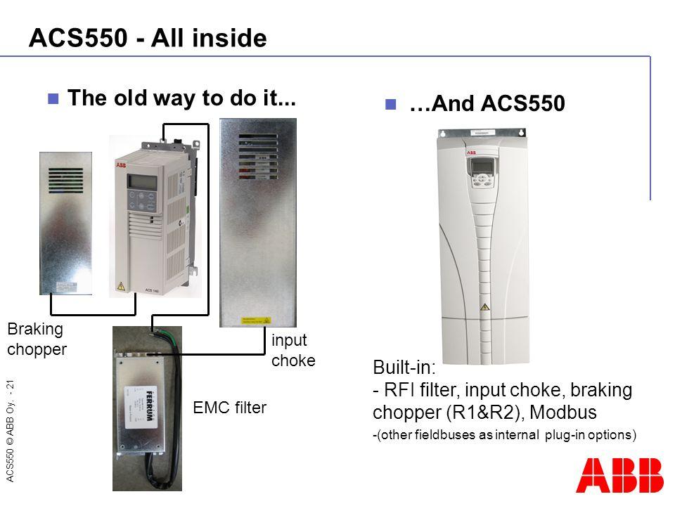 ACS550 © ABB Oy. - 21 The old way to do it... ACS550 - All inside …And ACS550 Built-in: - RFI filter, input choke, braking chopper (R1&R2), Modbus -(o