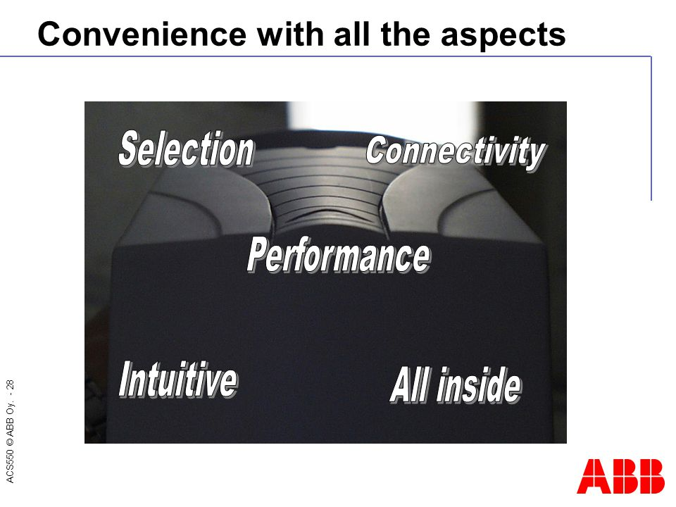 ACS550 © ABB Oy. - 28 Convenience with all the aspects