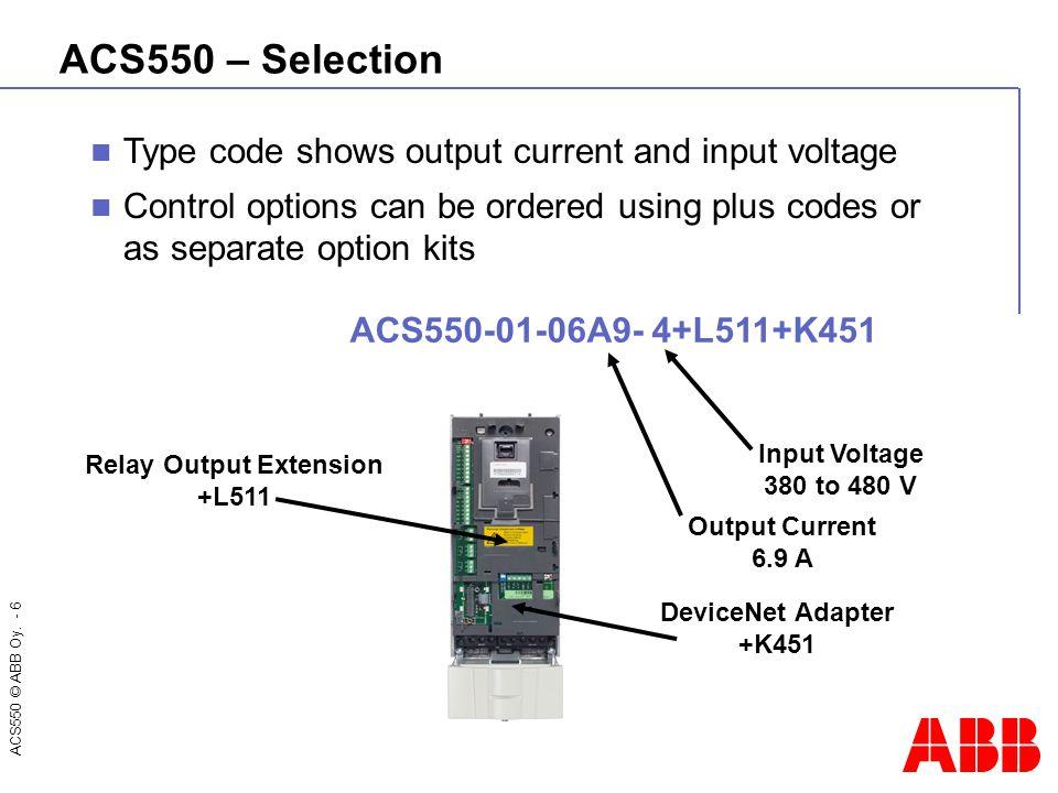 ACS550 © ABB Oy. - 7 ACS550 – Selection ACS550 ratings