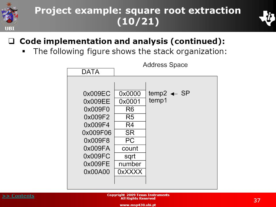UBI >> Contents 37 Copyright 2009 Texas Instruments All Rights Reserved www.msp430.ubi.pt Project example: square root extraction (10/21)  Code imple
