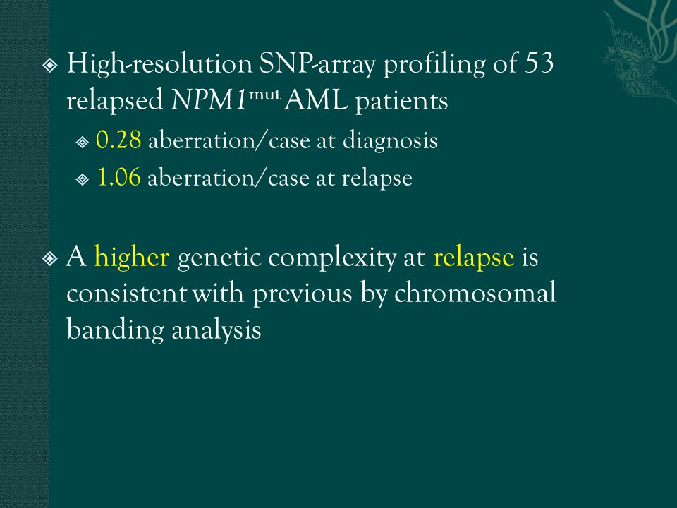  High-resolution SNP-array profiling of 53 relapsed NPM1 mut AML patients  0.28 aberration/case at diagnosis  1.06 aberration/case at relapse  A h