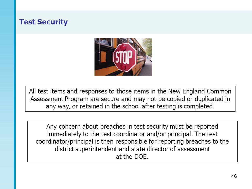 46 Test Security All test items and responses to those items in the New England Common Assessment Program are secure and may not be copied or duplicat
