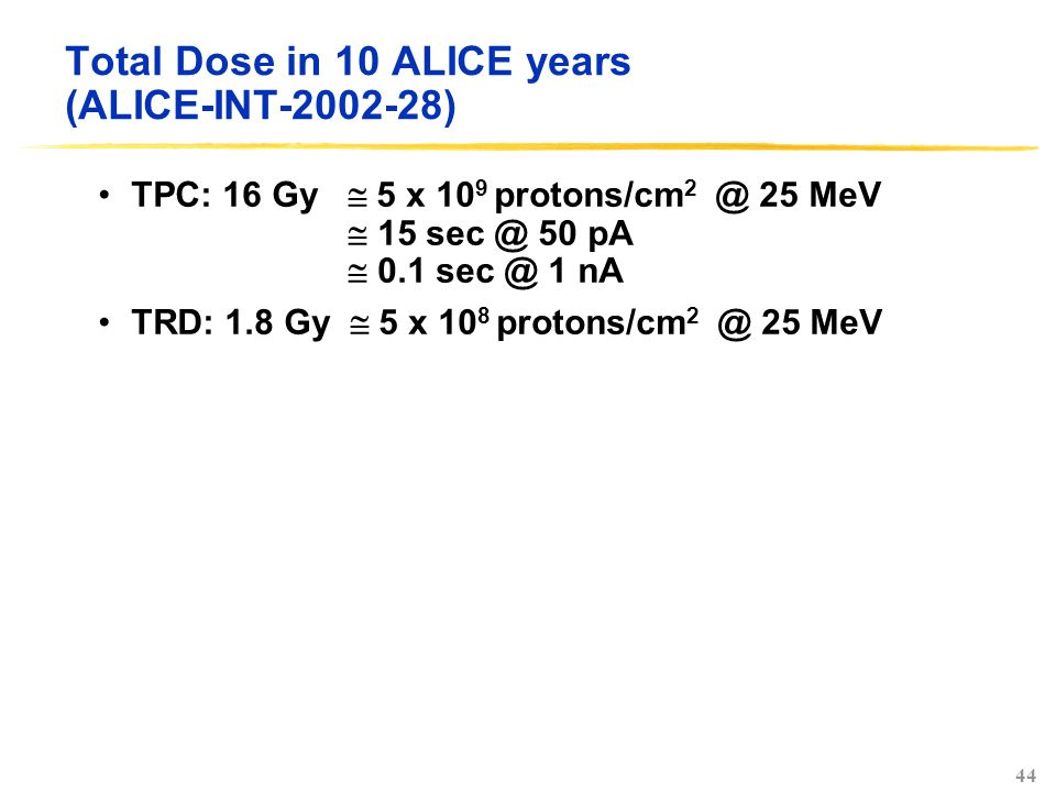44 Total Dose in 10 ALICE years (ALICE-INT-2002-28) TPC: 16 Gy  5 x 10 9 protons/cm 2 @ 25 MeV  15 sec @ 50 pA  0.1 sec @ 1 nA TRD: 1.8 Gy  5 x 10