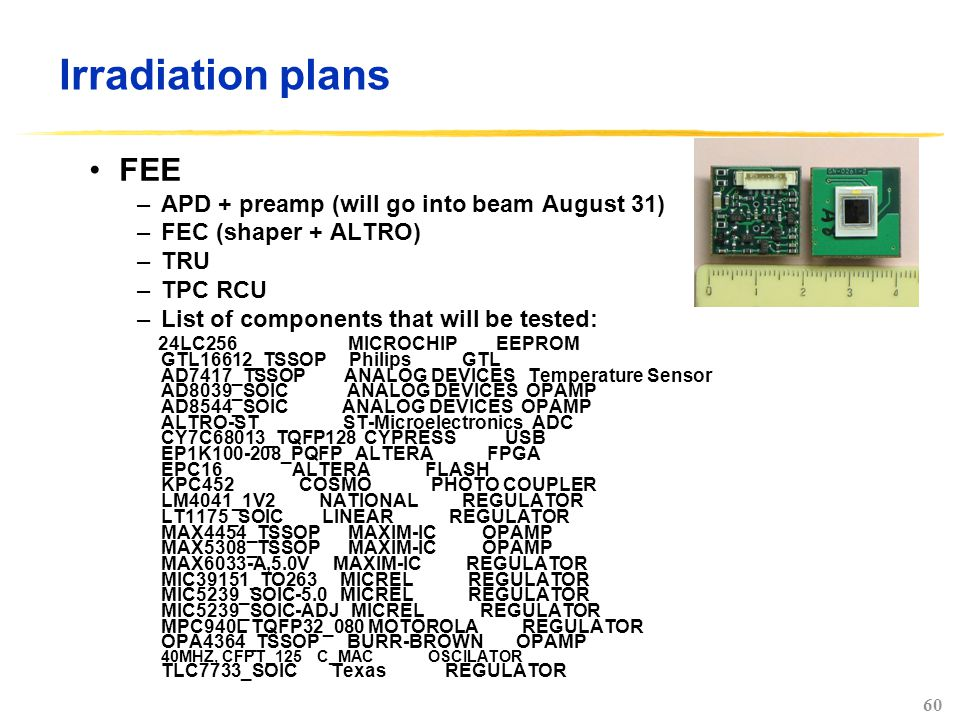 60 Irradiation plans FEE –APD + preamp (will go into beam August 31) –FEC (shaper + ALTRO) –TRU –TPC RCU –List of components that will be tested: 24LC