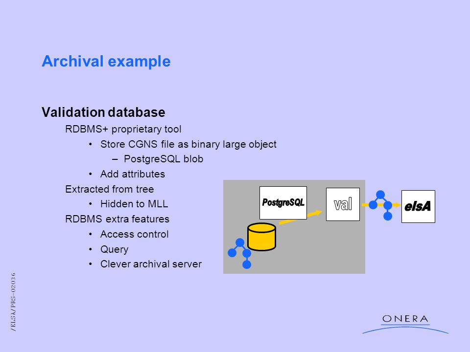 /ELSA/PRS-02036 Archival example Validation database RDBMS+ proprietary tool Store CGNS file as binary large object –PostgreSQL blob Add attributes Extracted from tree Hidden to MLL RDBMS extra features Access control Query Clever archival server