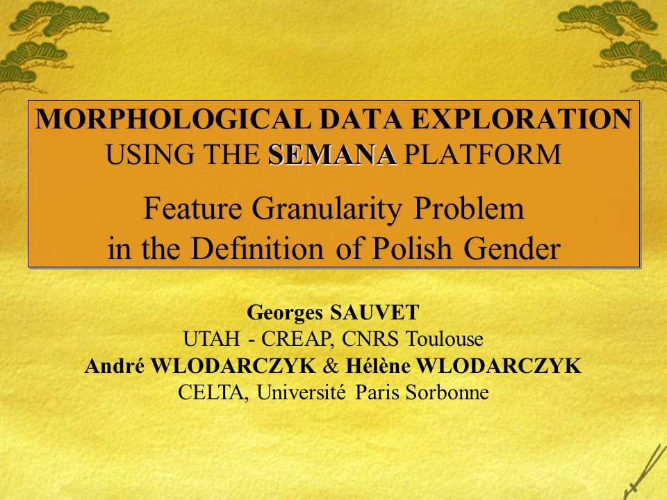 SEMANA MORPHOLOGICAL DATA EXPLORATION USING THE SEMANA PLATFORM Feature Granularity Problem in the Definition of Polish Gender Georges SAUVET UTAH - CREAP, CNRS Toulouse André WLODARCZYK & Hélène WLODARCZYK CELTA, Université Paris Sorbonne