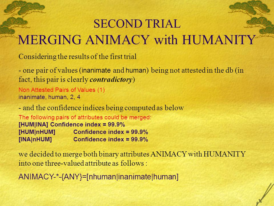 SECOND TRIAL MERGING ANIMACY with HUMANITY Considering the results of the first trial - one pair of values ( inanimate and human ) being not attested in the db (in fact, this pair is clearly contradictory) Non Attested Pairs of Values (1) inanimate, human, 2, 4 - and the confidence indices being computed as below The following pairs of attributes could be merged: [HUM|INA]Confidence index = 99.9% [HUM|nHUM]Confidence index = 99.9% [INA|nHUM]Confidence index = 99.9% we decided to merge both binary attributes ANIMACY with HUMANITY into one three-valued attribute as follows : ANIMACY-*-{ANY}=[nhuman|inanimate|human]