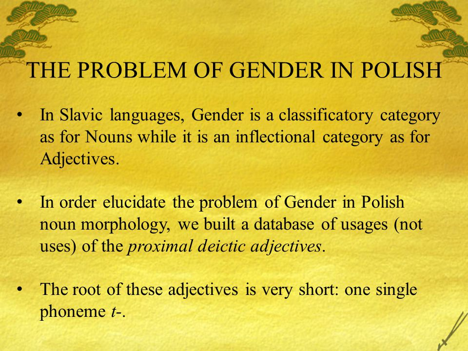 THE PROBLEM OF GENDER IN POLISH In Slavic languages, Gender is a classificatory category as for Nouns while it is an inflectional category as for Adjectives.