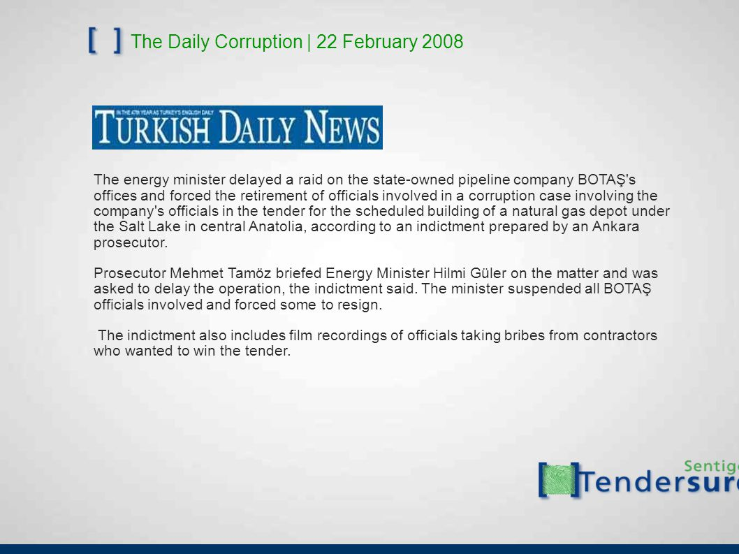 The Daily Corruption | 22 February 2008 The energy minister delayed a raid on the state-owned pipeline company BOTAŞ s offices and forced the retirement of officials involved in a corruption case involving the company s officials in the tender for the scheduled building of a natural gas depot under the Salt Lake in central Anatolia, according to an indictment prepared by an Ankara prosecutor.