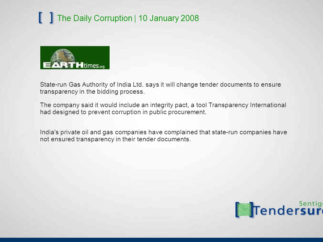 The Daily Corruption | 10 January 2008 State-run Gas Authority of India Ltd.