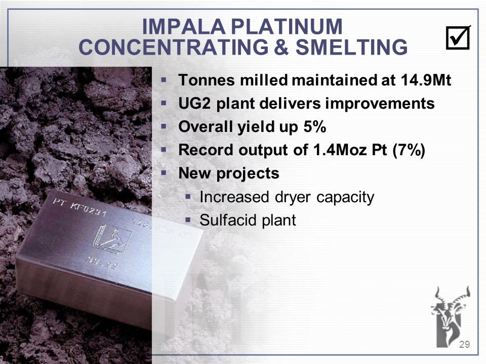 29 IMPALA PLATINUM CONCENTRATING & SMELTING  Tonnes milled maintained at 14.9Mt  UG2 plant delivers improvements  Overall yield up 5%  Record output of 1.4Moz Pt (7%)  New projects  Increased dryer capacity  Sulfacid plant 