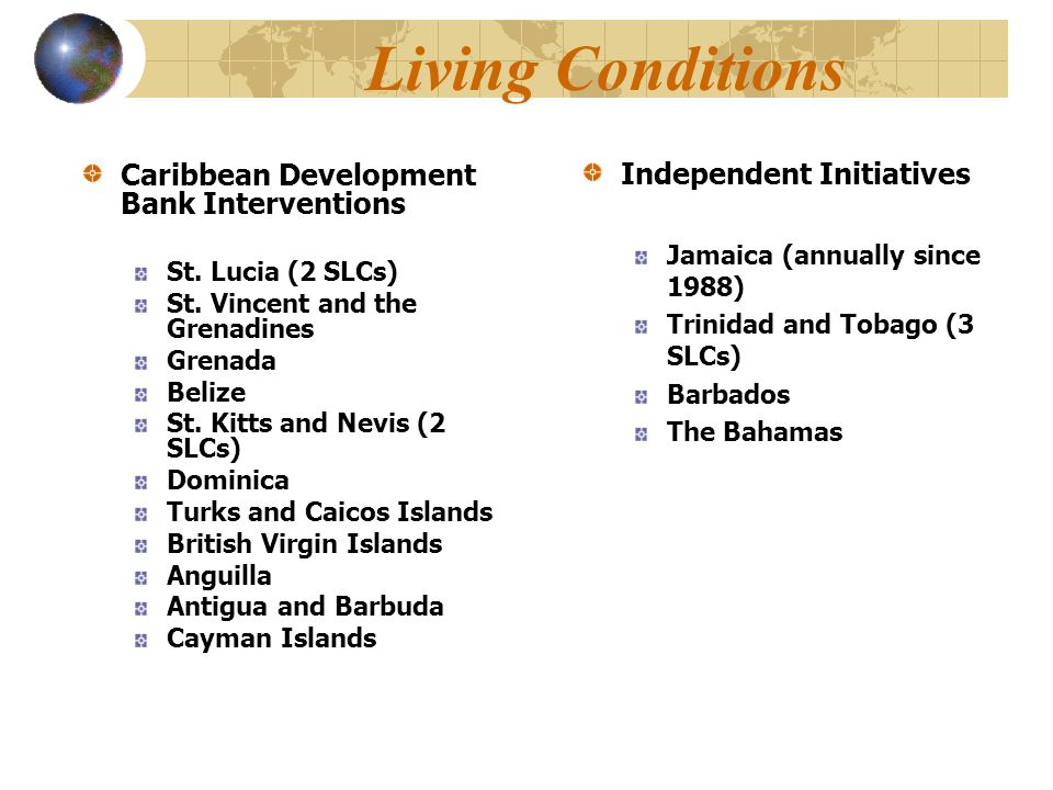 Living Conditions Caribbean Development Bank Interventions St. Lucia (2 SLCs) St. Vincent and the Grenadines Grenada Belize St. Kitts and Nevis (2 SLC