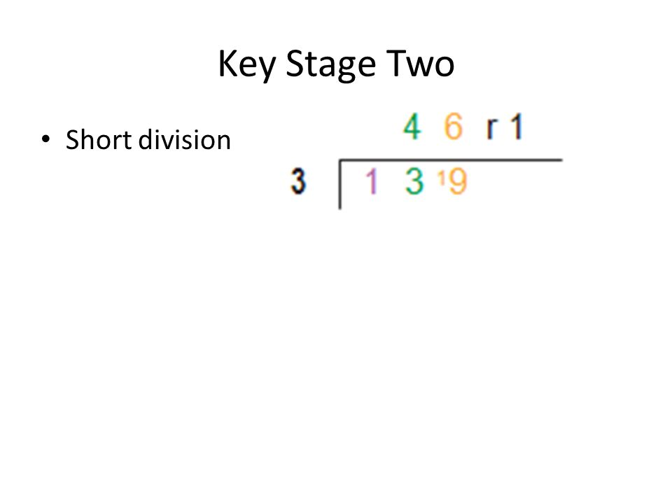 Key Stage Two Short division