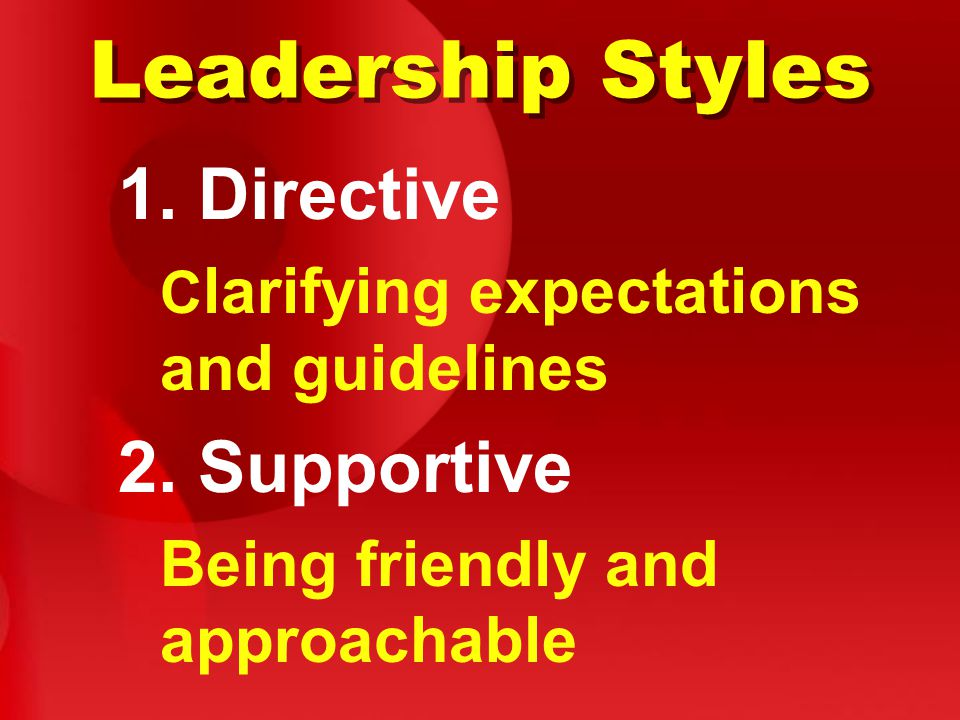 Leadership Styles 1. Directive C larifying expectations and guidelines 2.