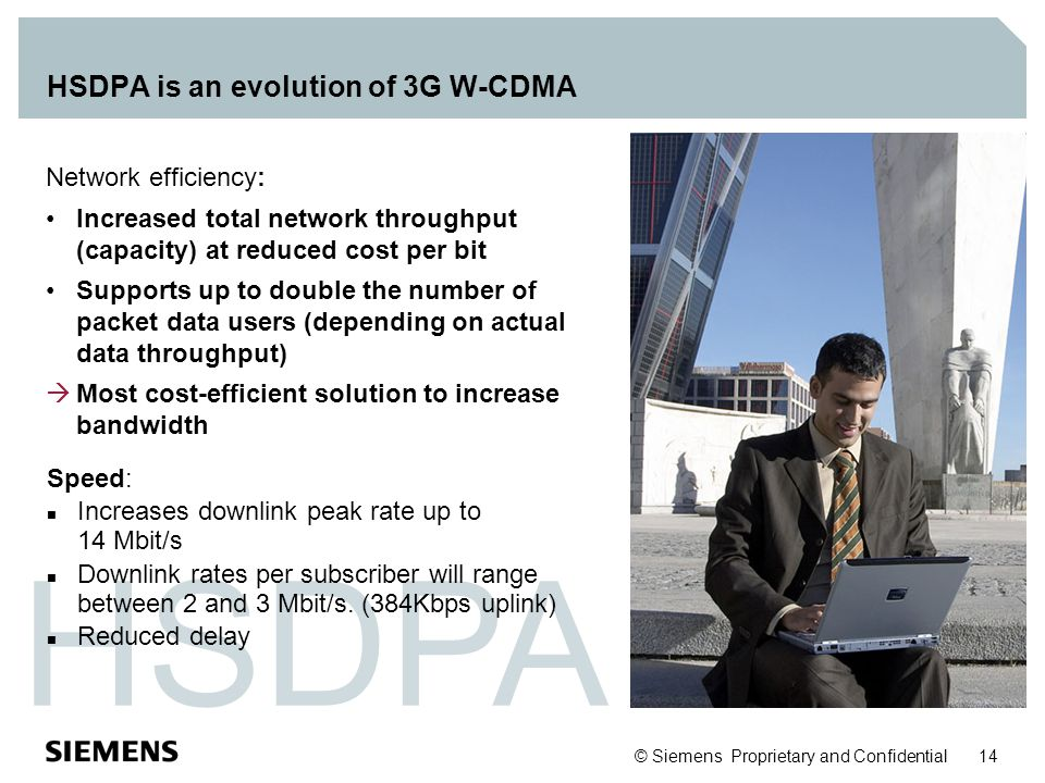 © Siemens Proprietary and Confidential 14 HSDPA HSDPA is an evolution of 3G W-CDMA Network efficiency: Increased total network throughput (capacity) a