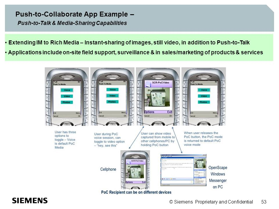 © Siemens Proprietary and Confidential 53 Push-to-Collaborate App Example – Push-to-Talk & Media-Sharing Capabilities Extending IM to Rich Media – Ins