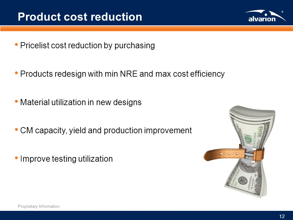 Proprietary Information. Product cost reduction Pricelist cost reduction by purchasing Products redesign with min NRE and max cost efficiency Material