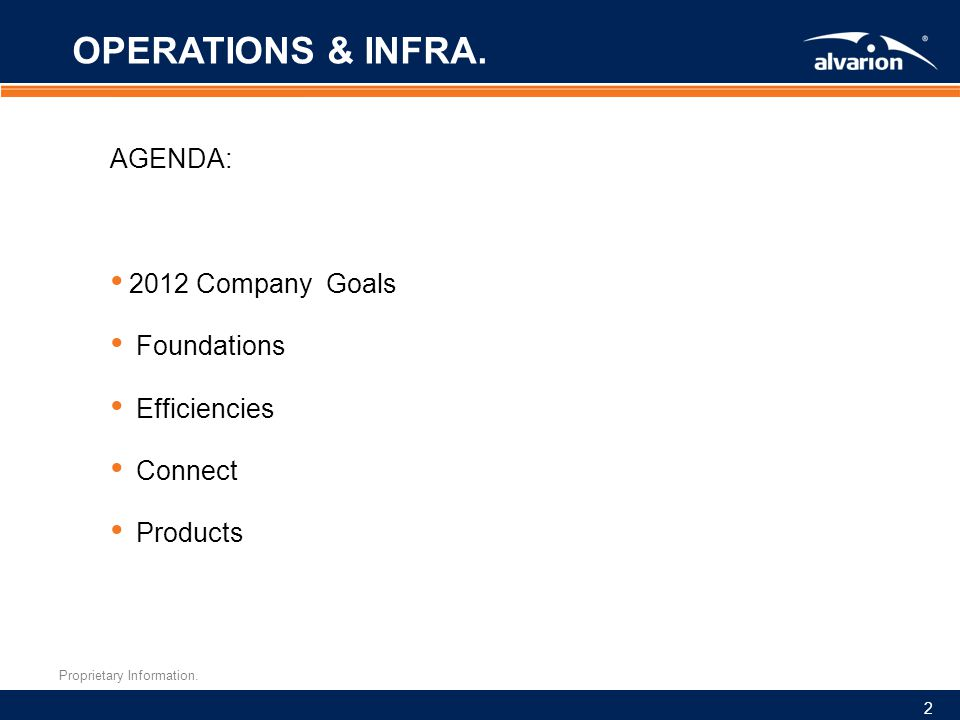 Proprietary Information. 2 OPERATIONS & INFRA.