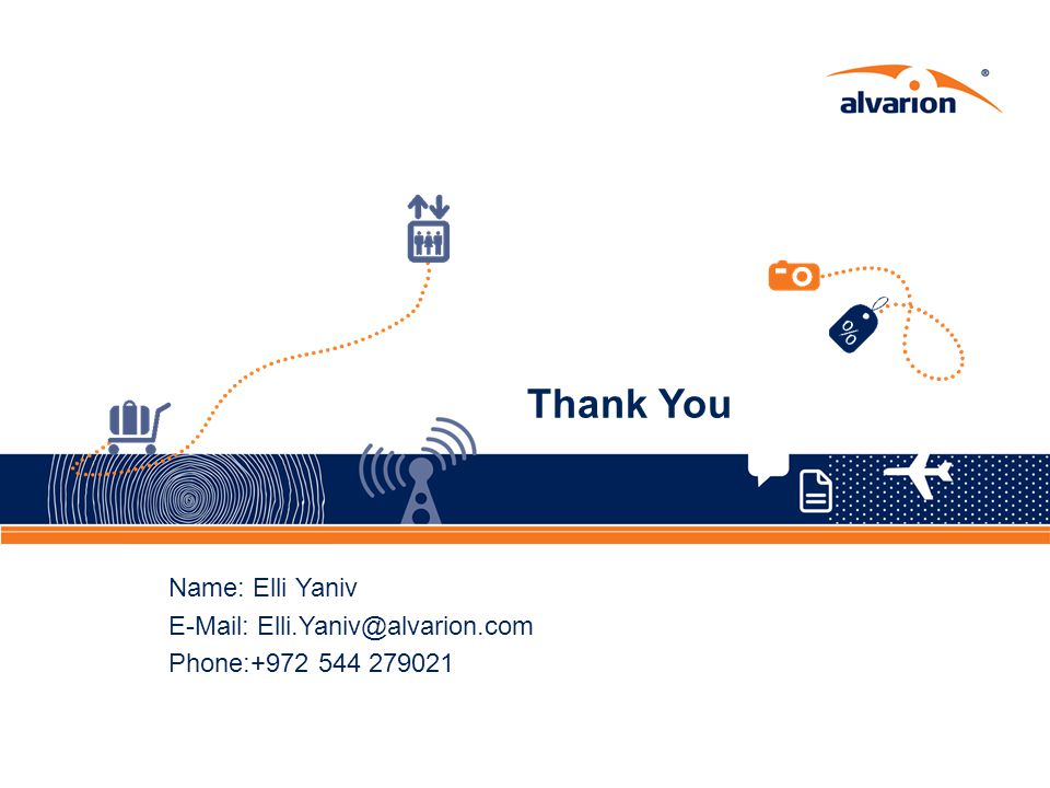 Thank You Name: Elli Yaniv E-Mail: Elli.Yaniv@alvarion.com Phone:+972 544 279021