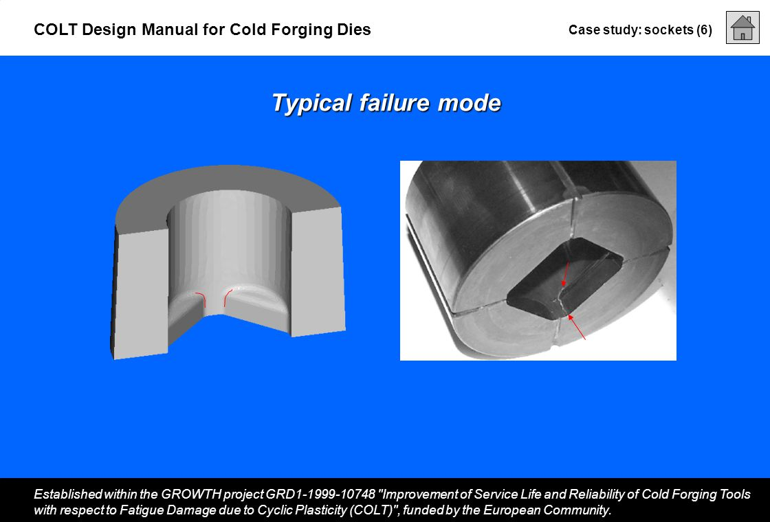 Case study: sockets (6) Established within the GROWTH project GRD1-1999-10748 Improvement of Service Life and Reliability of Cold Forging Tools with respect to Fatigue Damage due to Cyclic Plasticity (COLT) , funded by the European Community.