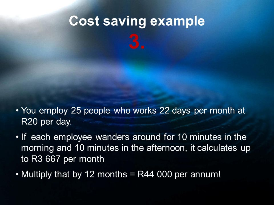 Cost saving example 3. You employ 25 people who works 22 days per month at R20 per day.