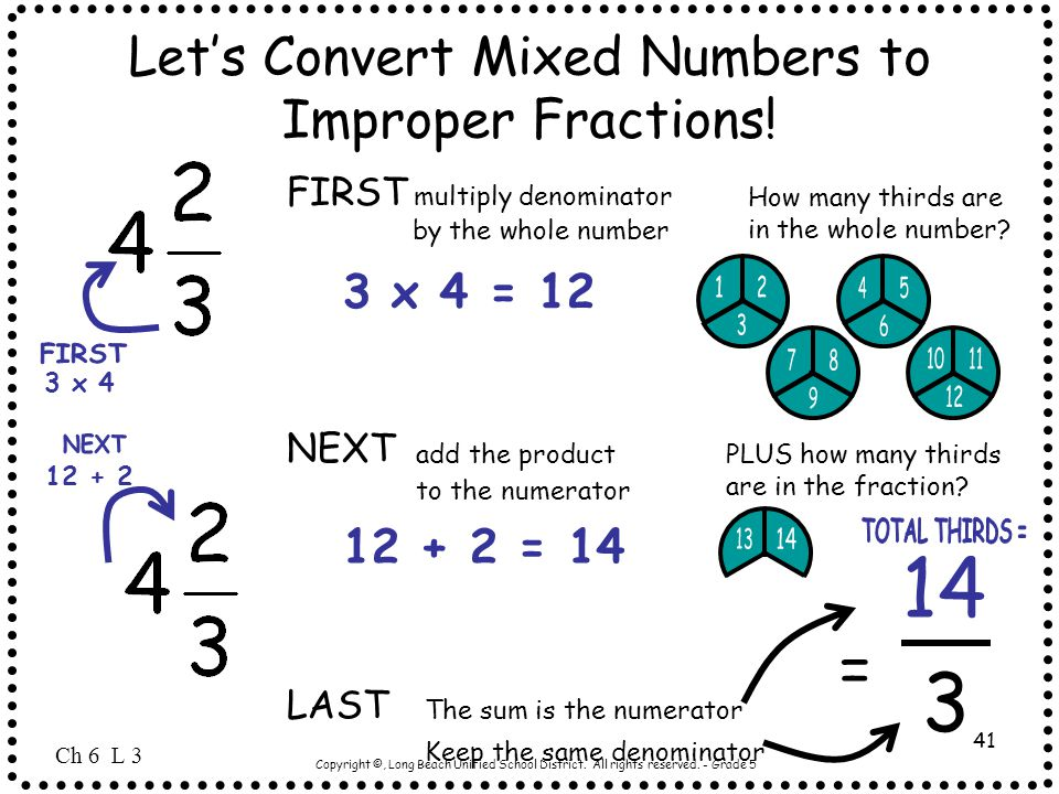 Copyright ©, Long Beach Unified School District. All rights reserved. - Grade 5 41 Let's Convert Mixed Numbers to Improper Fractions! How many thirds
