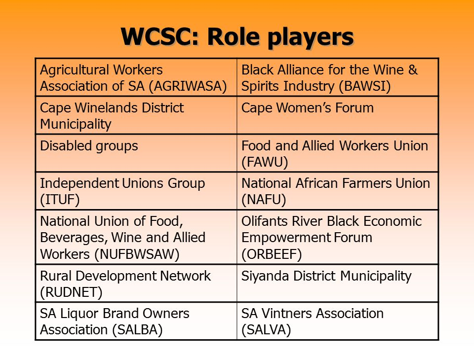 WCSC: Role players Agricultural Workers Association of SA (AGRIWASA) Black Alliance for the Wine & Spirits Industry (BAWSI) Cape Winelands District Mu