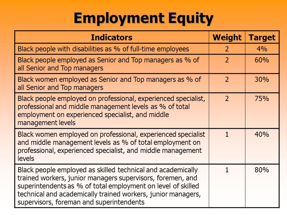 Employment Equity IndicatorsWeightTarget Black people with disabilities as % of full-time employees24% Black people employed as Senior and Top manager
