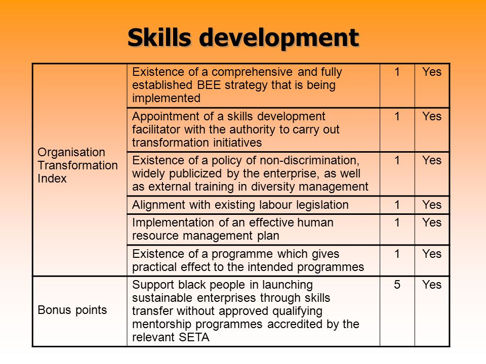 Skills development Organisation Transformation Index Existence of a comprehensive and fully established BEE strategy that is being implemented 1Yes Ap