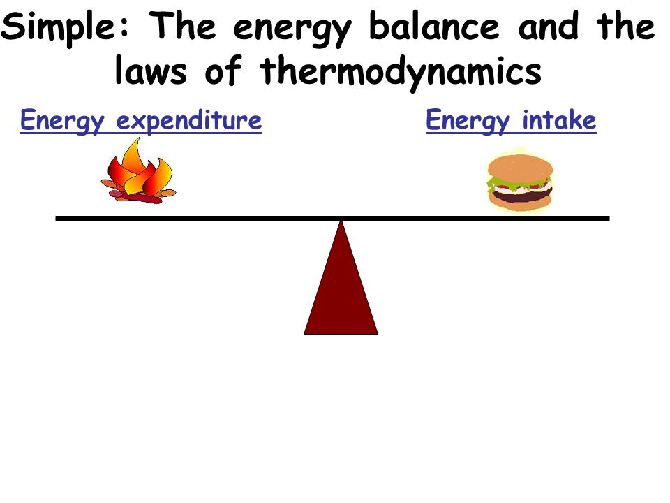 Simple: The energy balance and the laws of thermodynamics Energy expenditure Energy intake