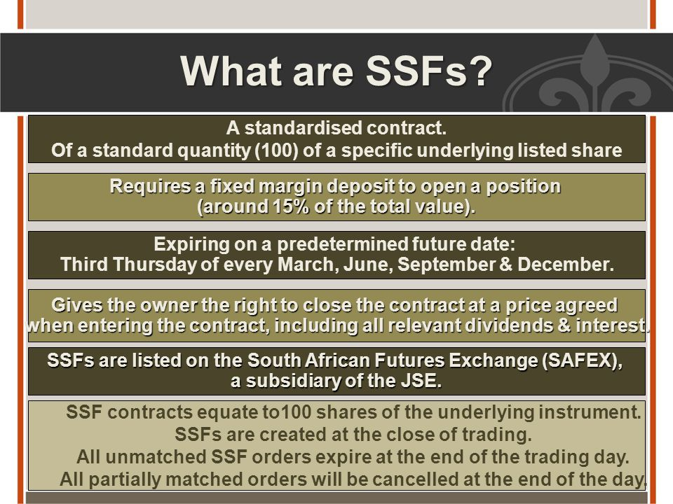 What are SSFs.A standardised contract.