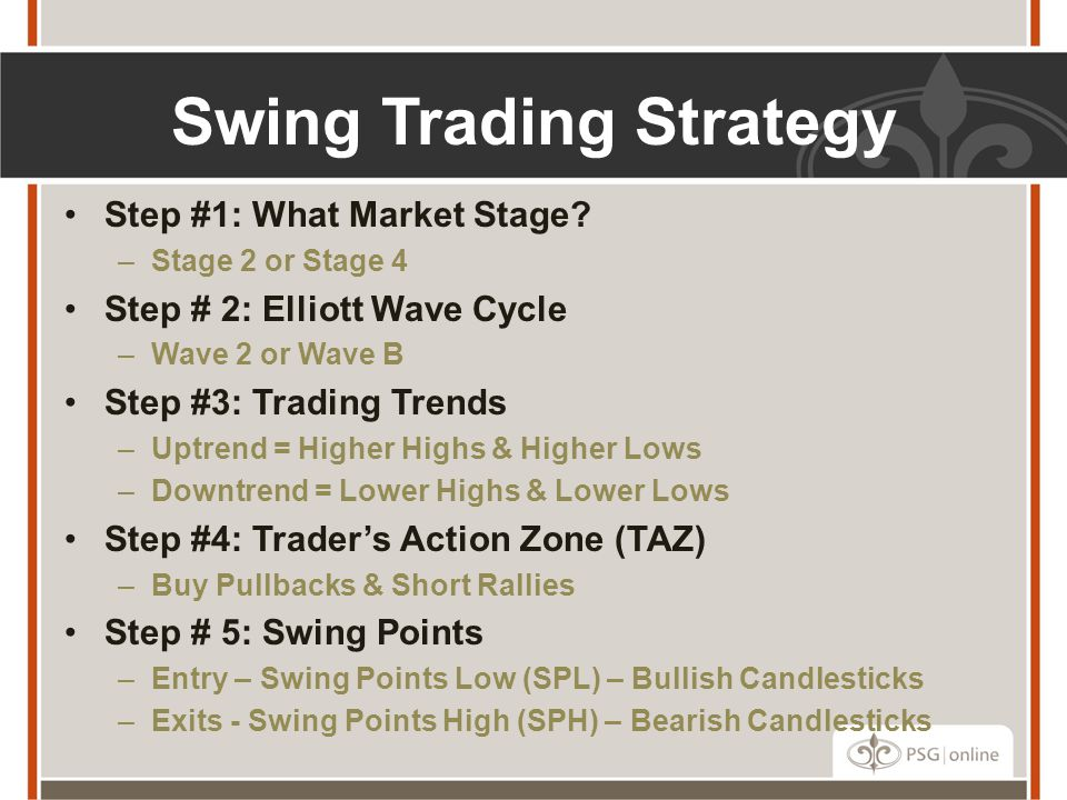 Swing Trading Strategy Step #1: What Market Stage? –Stage 2 or Stage 4 Step # 2: Elliott Wave Cycle –Wave 2 or Wave B Step #3: Trading Trends –Uptrend