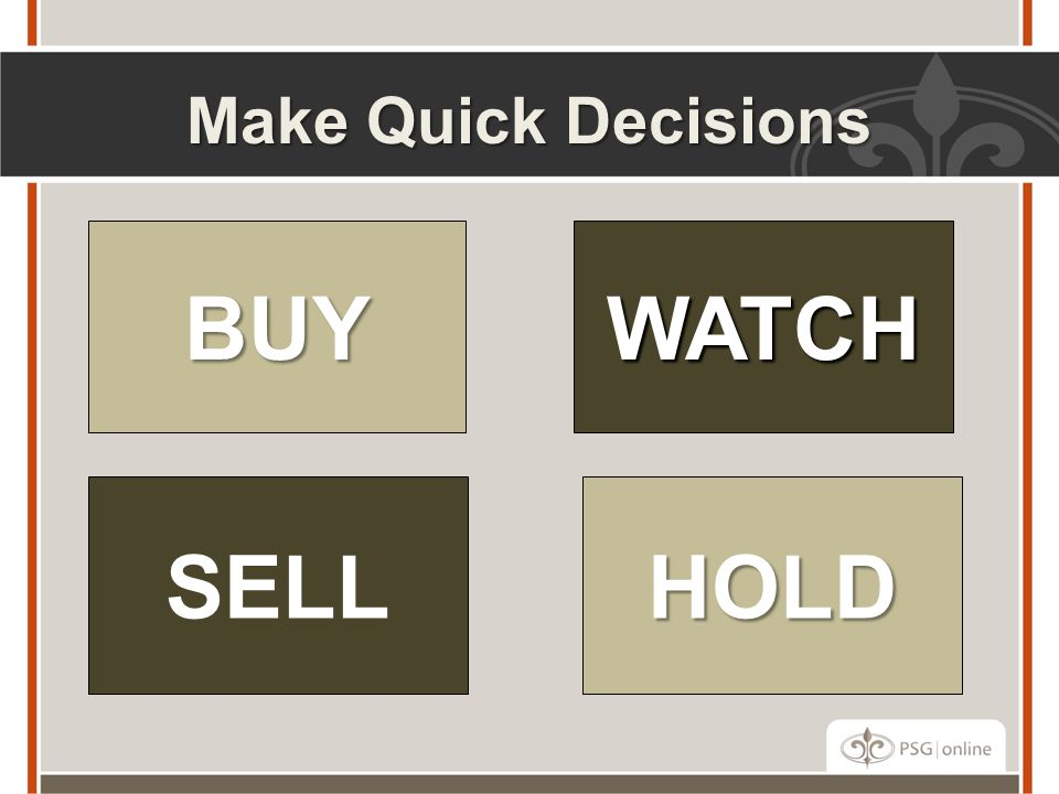 Make Quick Decisions BUY HOLD WATCH SELL
