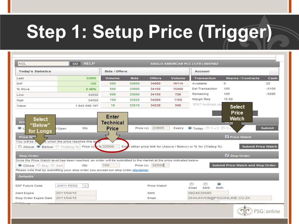"Step 1: Setup Price (Trigger) Select ""Below"" for Longs Enter Technical Price Select Price Watch"