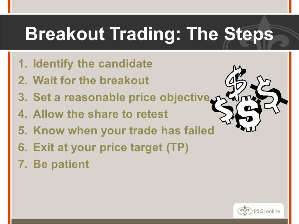 Breakout Trading: The Steps 1.Identify the candidate 2.Wait for the breakout 3.Set a reasonable price objective 4.Allow the share to retest 5.Know when your trade has failed 6.Exit at your price target (TP) 7.Be patient