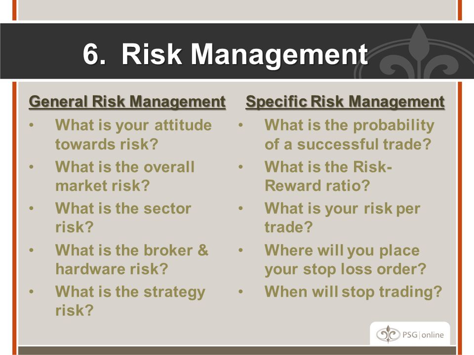 6.Risk Management General Risk Management What is your attitude towards risk.