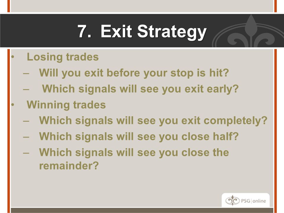 7.Exit Strategy Losing trades –Will you exit before your stop is hit.
