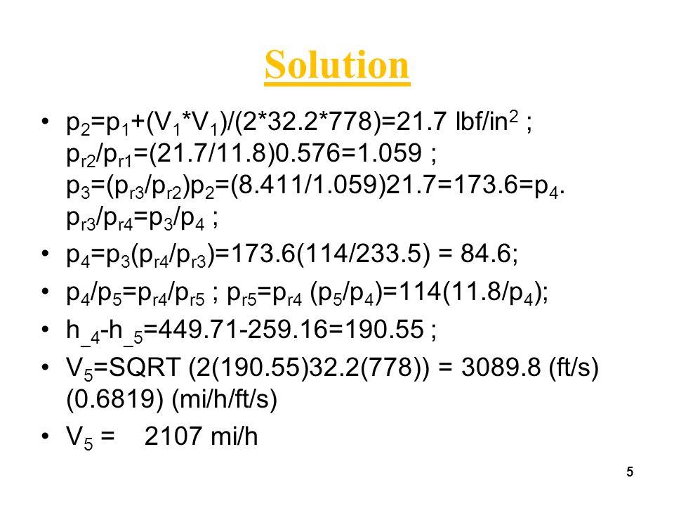 5 Solution p 2 =p 1 +(V 1 *V 1 )/(2*32.2*778)=21.7 lbf/in 2 ; p r2 /p r1 =(21.7/11.8)0.576=1.059 ; p 3 =(p r3 /p r2 )p 2 =(8.411/1.059)21.7=173.6=p 4.