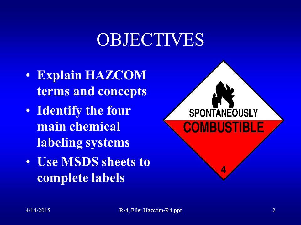 4/14/2015R-4, File: Hazcom-R4.ppt1 Great Plains Technology Center Presents: Hazard Communication Training CFR 1910.1200