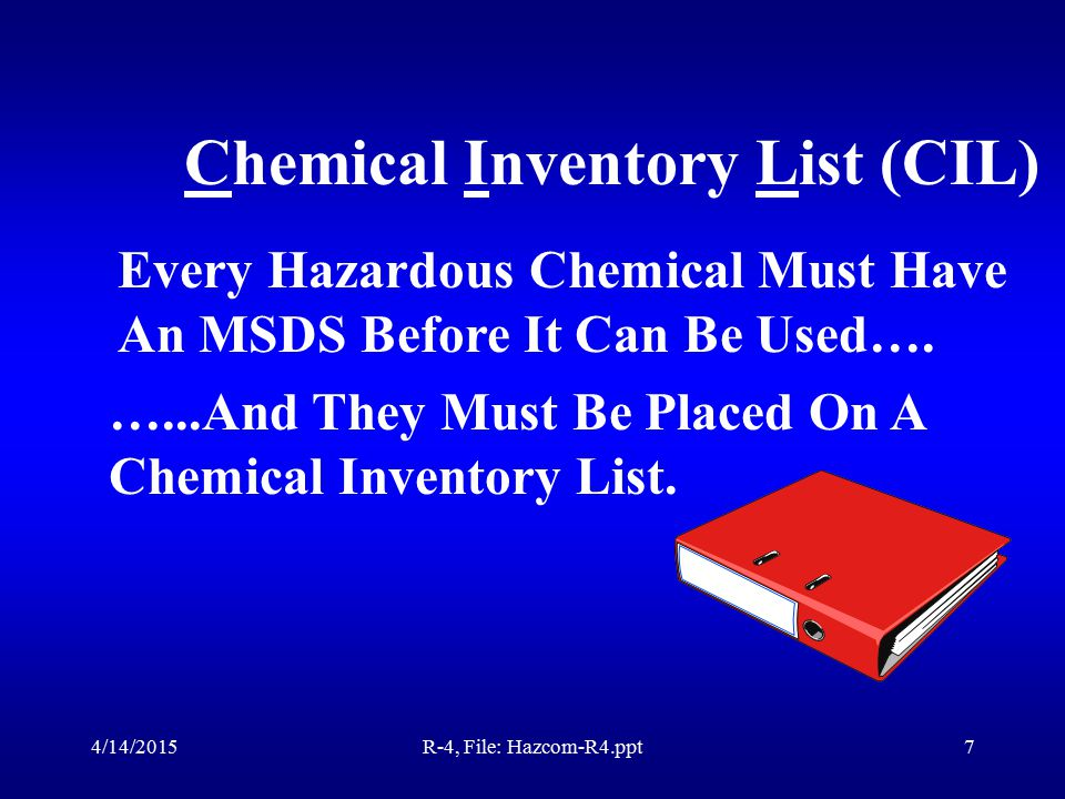 4/14/2015R-4, File: Hazcom-R4.ppt6 Hazardous Identification Any chemical that has at least 1% of a known hazardous substance, must be classified as a hazardous material.