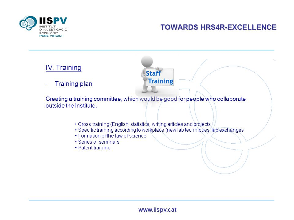 www.iispv.cat TOWARDS HRS4R-EXCELLENCE IV. Training -Training plan Creating a training committee, which would be good for people who collaborate outsi
