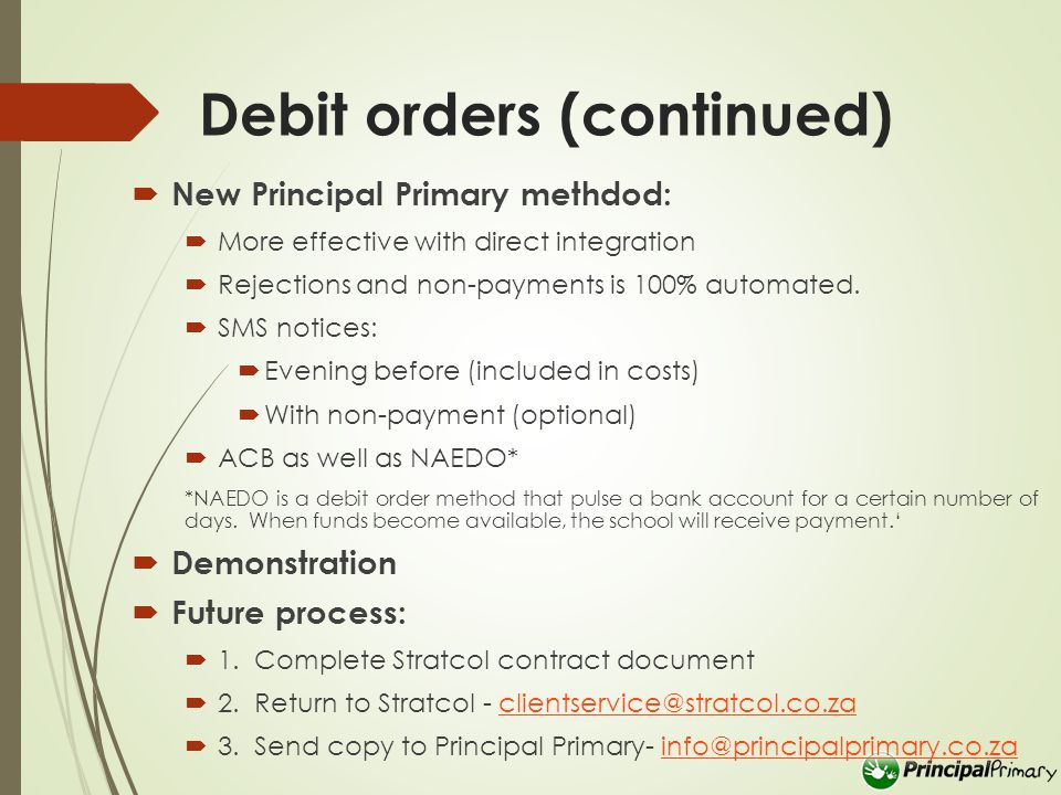 Debtor Notes  Per Family and Accountable Person  Communication method  Type notes:  Text notes  Promise to pay  Integration with SMS system  Integration with receipts  Tasks:  Promise to pay for the next couple of days  Promises that was not honoured  Future:  Note can be printed on statement  Link Promise to Pay directly to the debtors account  Hand-over and Debtor Collection System  Demonstration