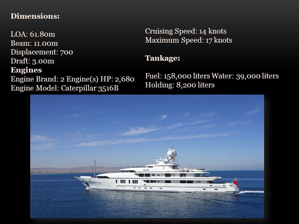 Dimensions: LOA: 61.80m Beam: 11.00m Displacement: 700 Draft: 3.00m Engines Engine Brand: 2 Engine(s) HP: 2,680 Engine Model: Caterpillar 3516B Cruising Speed: 14 knots Maximum Speed: 17 knots Tankage: Fuel: 158,000 liters Water: 39,000 liters Holding: 8,200 liters