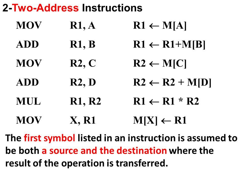 2-Two-Address Instructions MOVR1, A R1  M[A] ADDR1, B R1  R1+M[B] MOVR2, C R2  M[C] ADDR2, D R2  R2 + M[D] MULR1, R2 R1  R1 * R2 MOVX, R1M[X]  R