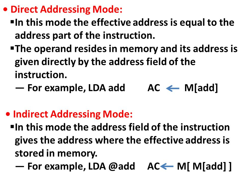 Direct Addressing Mode:  In this mode the effective address is equal to the address part of the instruction.  The operand resides in memory and its