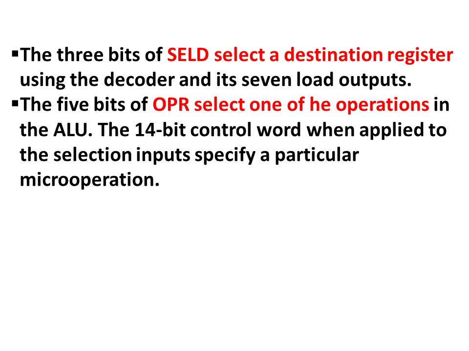 Binary CodeSELASELBSELD 000Input None 001R1 010R2 011R3 100R4 101R5 110R6 111R7 Encoding of Register Selection Fields.