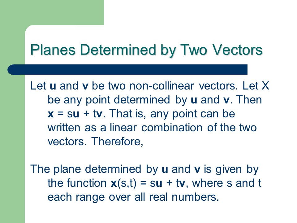 Planes Determined by Two Vectors Let u and v be two non-collinear vectors.